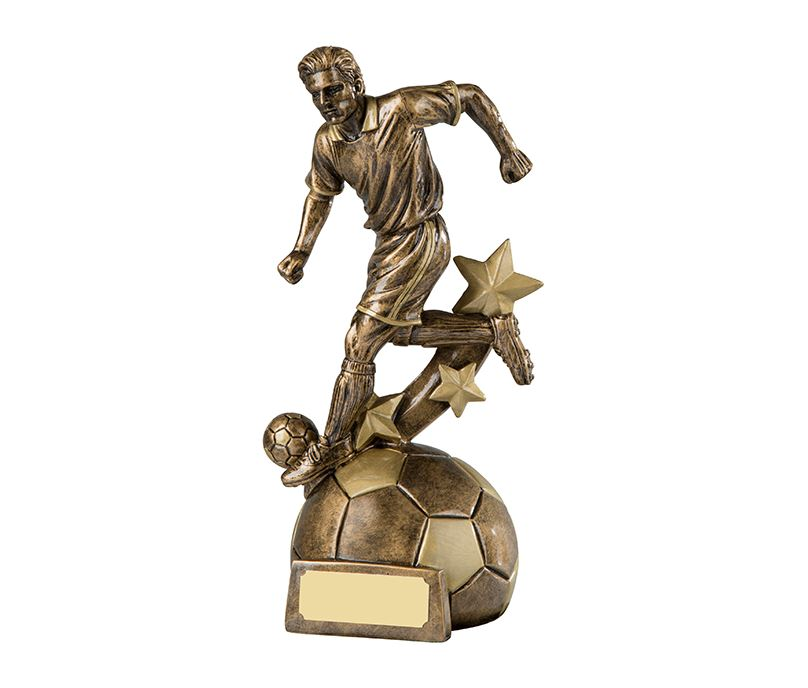 "Antique Gold Resin Player in Action Football Stars Trophy 20.5cm (8"")"
