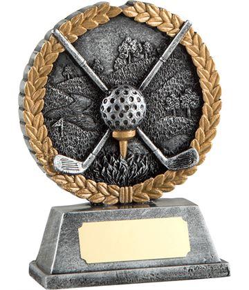"""Silver Crossed Golf Clubs & Laurel Wreath Golf Trophy 11cm (4.25"""")"""