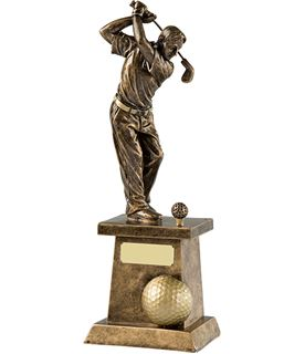 "Gold Finished Male Golfer in Full Backswing Golf Trophy 26.5cm (10.5"")"