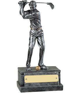 """Silver Male Golfer in Full Backswing Golf Trophy 20.5cm (8"""")"""