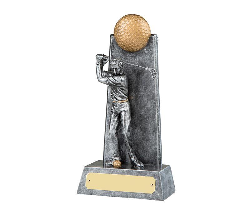 """Silver Male Golfer in Full Backswing Golf Trophy 22cm (8.75"""")"""