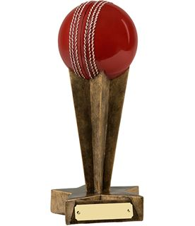 "3D Cricket Ball Trophy on Star Shaped Column and Base 23cm (9"")"