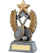 "Gold & Silver Resin Laurel Wreath Tennis Trophy 16.5cm (6.5"")"
