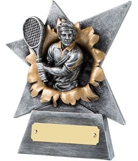 """Antique Silver Resin Star Shaped Tennis Player Trophy 15cm (6"""")"""