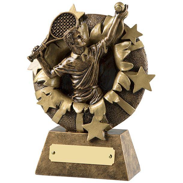 "Antique Gold Resin Serving Tennis Player Trophy 16.5cm (6.5"")"