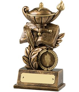 "Antique Gold Resin Quiz & Knowledge Trophy 15cm (6"")"