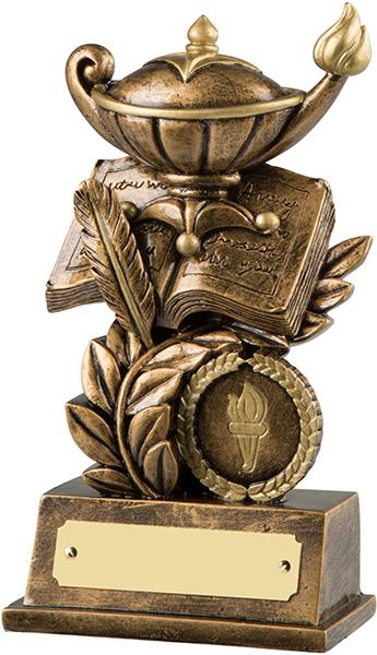 "Antique Gold Resin Quiz & Knowledge Trophy 15cm (6"")"