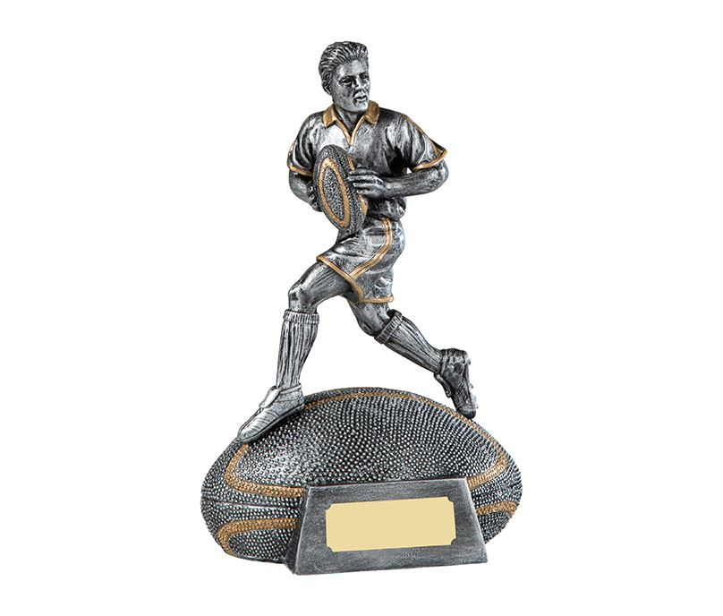 """Antique Silver Male Rugby Player Trophy on Rugby Ball Base 18cm (7"""")"""