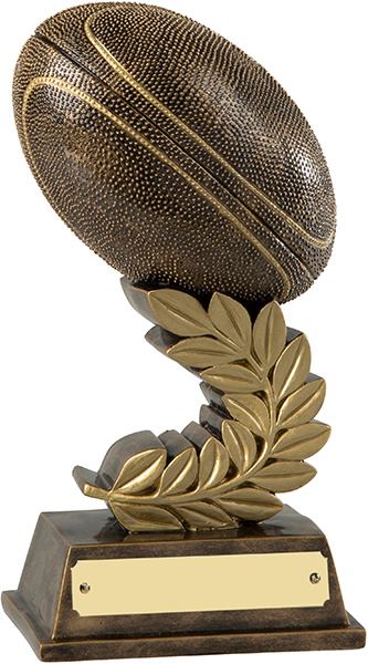 "Antique Gold Rugby Ball Trophy with Gold Laurel Wreath 19cm (7.5"")"