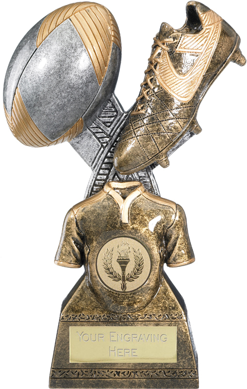 """Rugby Trophy Gold Resin Ball & Boot 18cm (7"""")"""