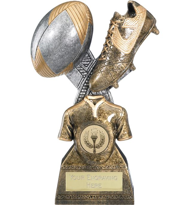 "Rugby Trophy Gold Resin Ball & Boot 18cm (7"")"