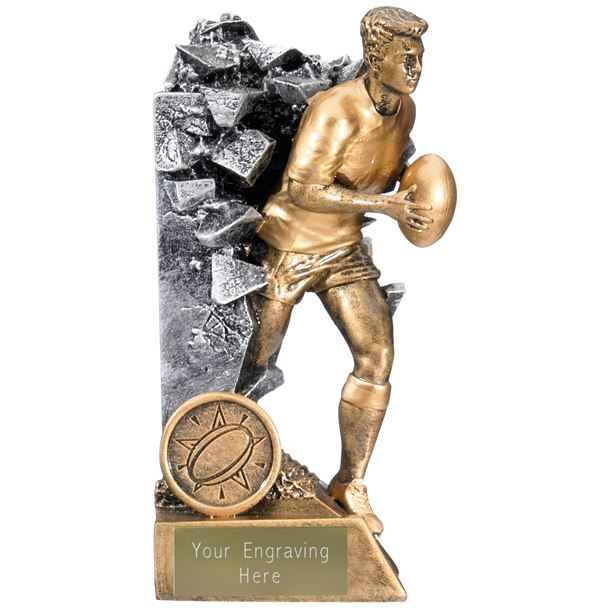 """Breakout Male Rugby Player Trophy Gold & Silver 15cm (6"""")"""
