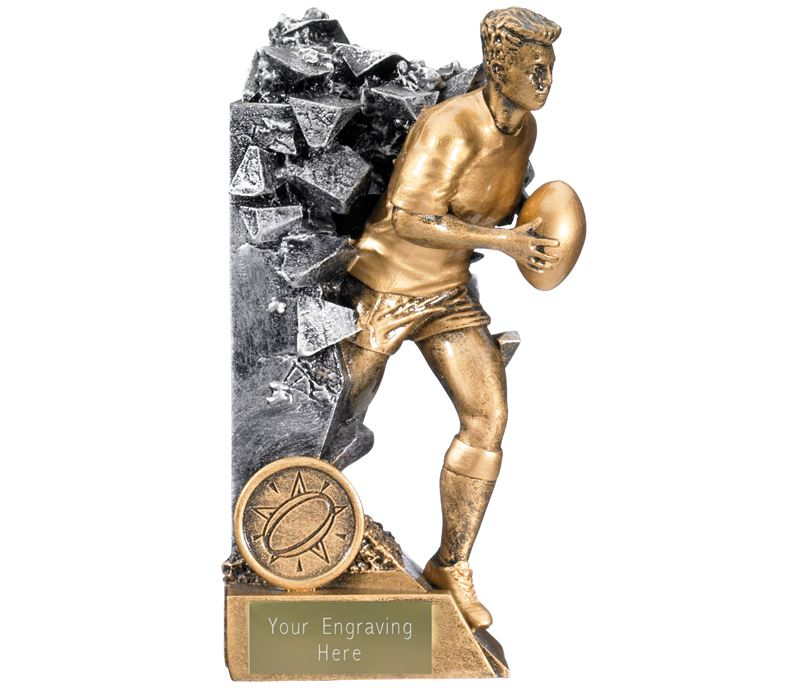 """Breakout Male Rugby Player Trophy Gold & Silver 16cm (6.25"""")"""
