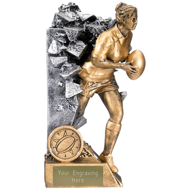 """Breakout Female Rugby Player Trophy Gold & Silver 16cm (6.25"""")"""
