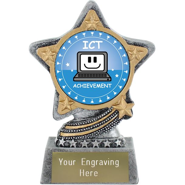 """ICT Trophy by Infinity Stars Antique Silver 10cm (4"""")"""