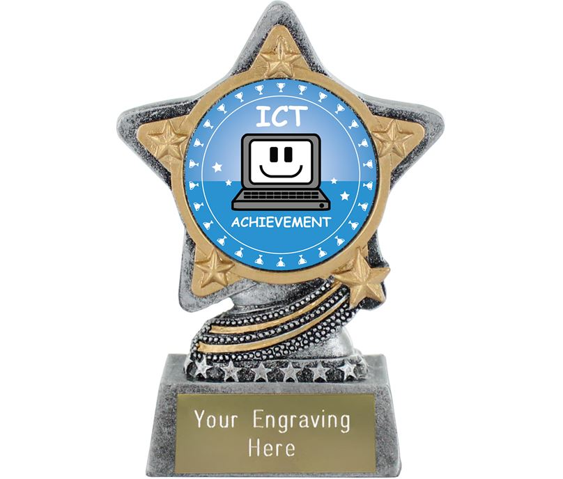 "ICT Trophy by Infinity Stars Antique Silver 10cm (4"")"