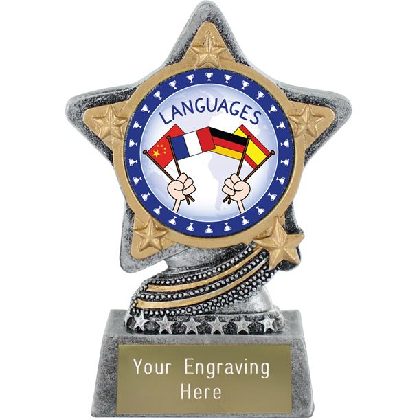 """Languages Trophy by Infinity Stars Antique Silver 10cm (4"""")"""