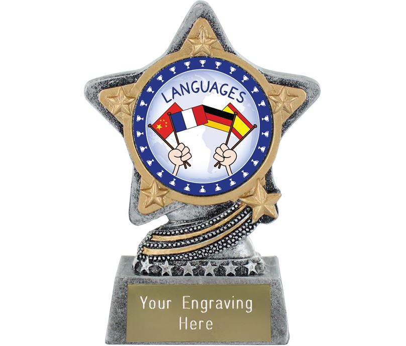 "Languages Trophy by Infinity Stars Antique Silver 10cm (4"")"
