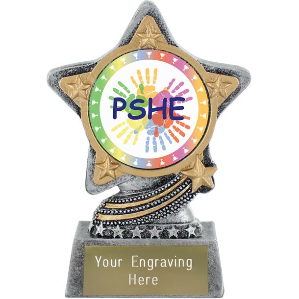 """PSHE Trophy by Infinity Stars Antique Silver 10cm (4"""")"""