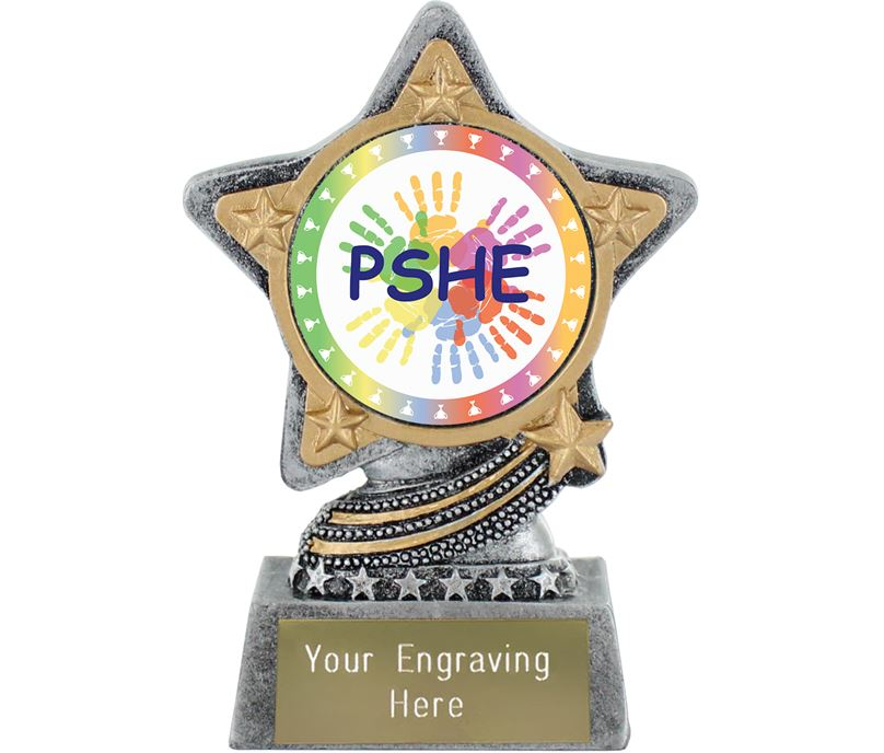 "PSHE Trophy by Infinity Stars Antique Silver 10cm (4"")"