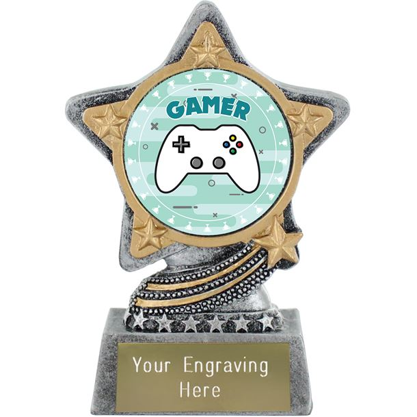 """Gamer Trophy by Infinity Stars Antique Silver 10cm (4"""")"""