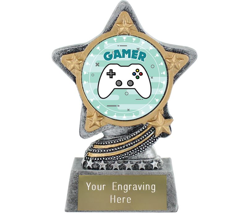 "Gamer Trophy by Infinity Stars Antique Silver 10cm (4"")"