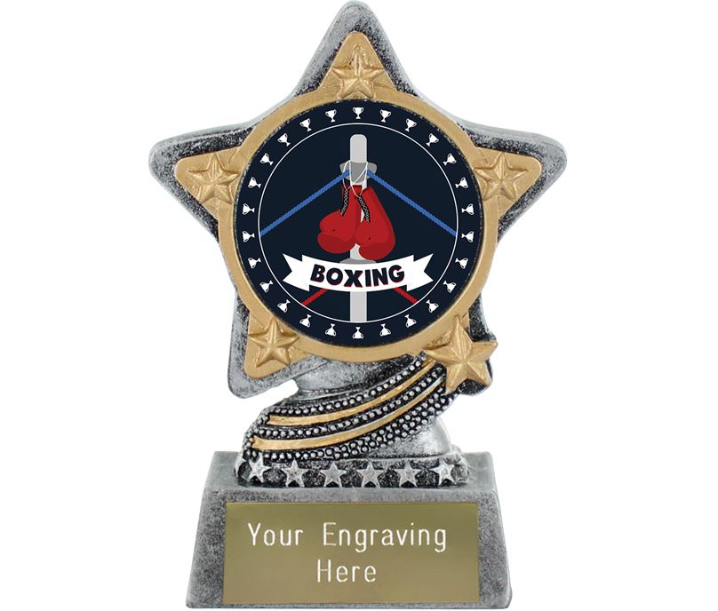"""Boxing Trophy by Infinity Stars Antique Silver 10cm (4"""")"""