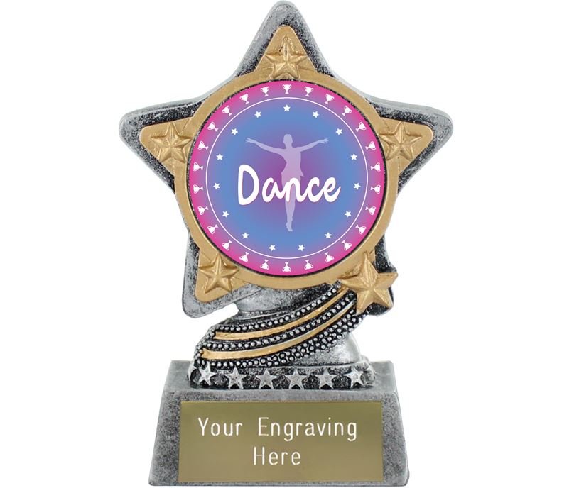 "Dance Trophy by Infinity Stars Antique Silver 10cm (4"")"