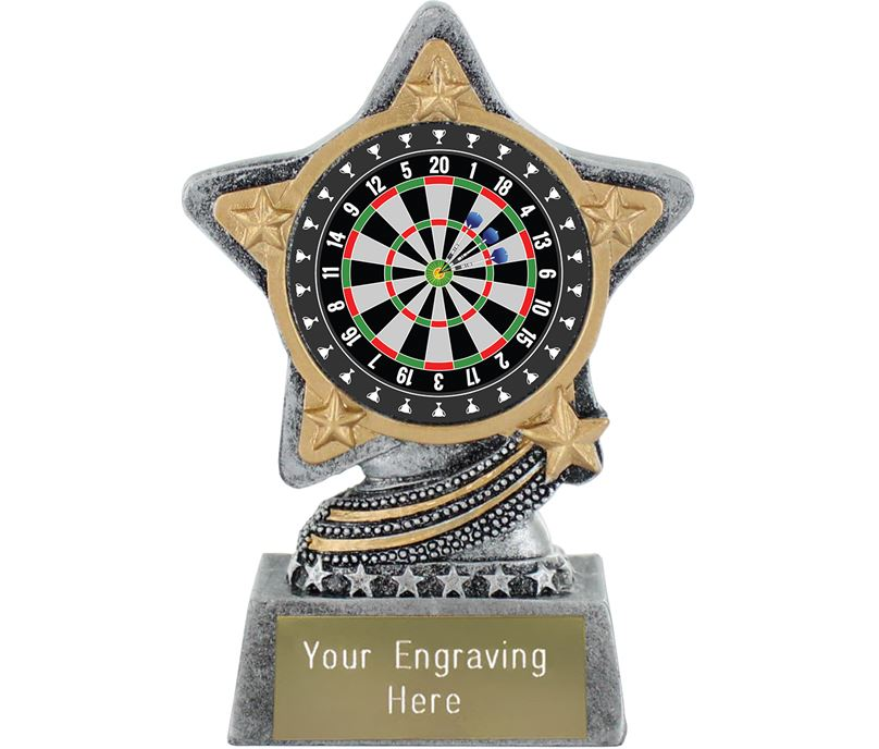 """Darts Trophy by Infinity Stars Antique Silver 10cm (4"""")"""