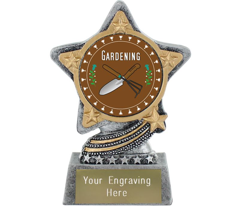 "Gardening Trophy by Infinity Stars Antique Silver 10cm (4"")"