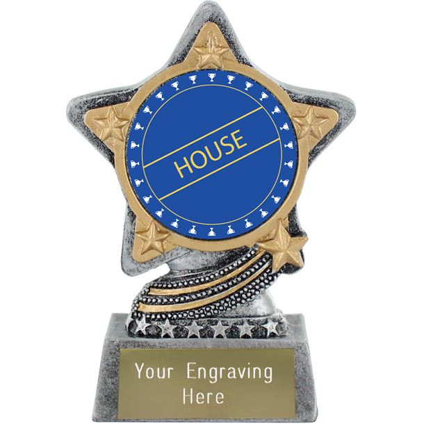 """Blue House Trophy by Infinity Stars Antique Silver 10cm (4"""")"""