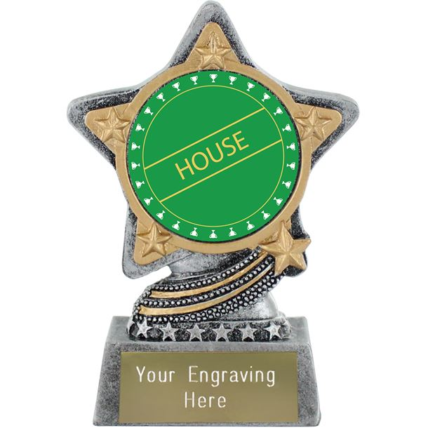 """Green House Trophy by Infinity Stars Antique Silver 10cm (4"""")"""