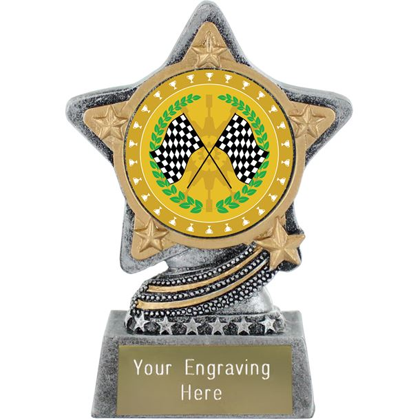 """Motorsport Trophy by Infinity Stars Antique Silver 10cm (4"""")"""