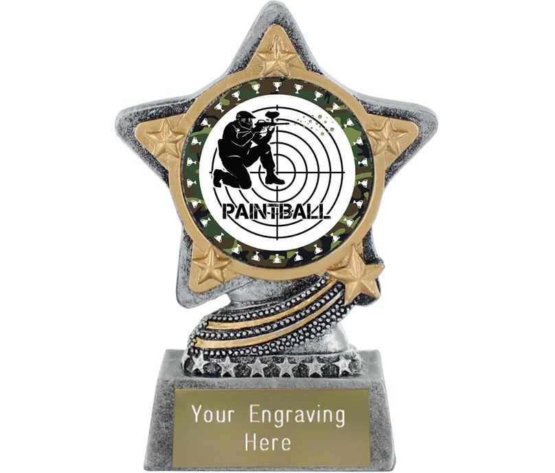 """Paintballing Trophy by Infinity Stars Antique Silver 10cm (4"""")"""