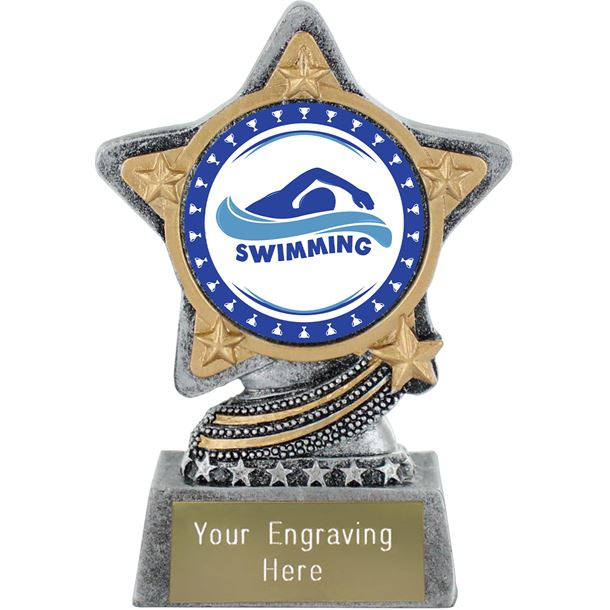 """Swimming Trophy by Infinity Stars Antique Silver 10cm (4"""")"""