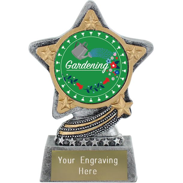 "Flower Gardening Trophy by Infinity Stars Antique Silver 10cm (4"")"