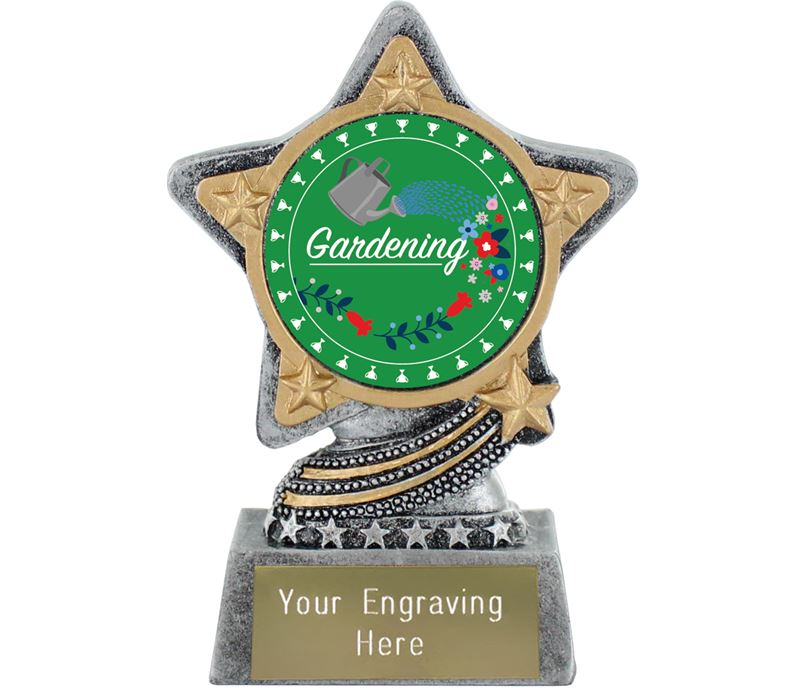 "Flower Gardening Trophy by Infinity Stars Antique Silver 10cm (4"")"