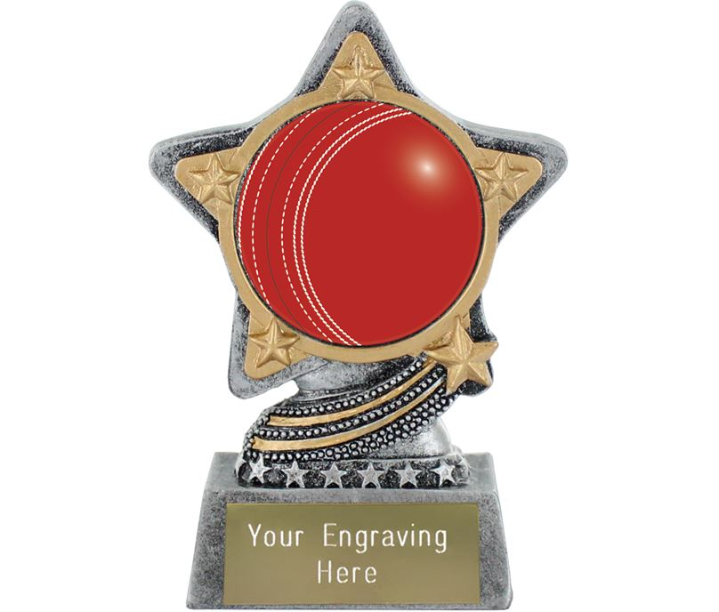 "Centre Cricket Ball Trophy by Infinity Stars Antique Silver 10cm (4"")"