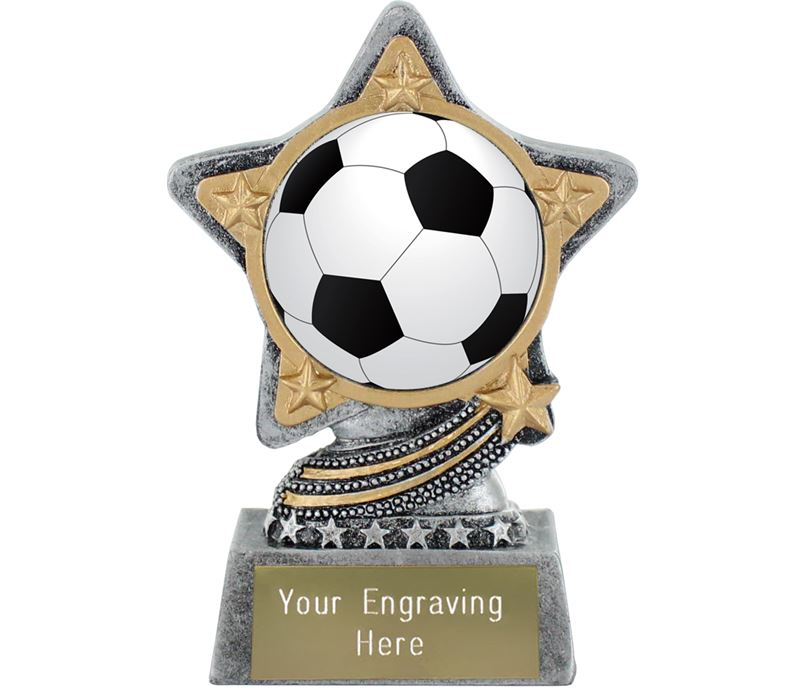 """Centre Football Trophy by Infinity Stars Antique Silver 10cm (4"""")"""