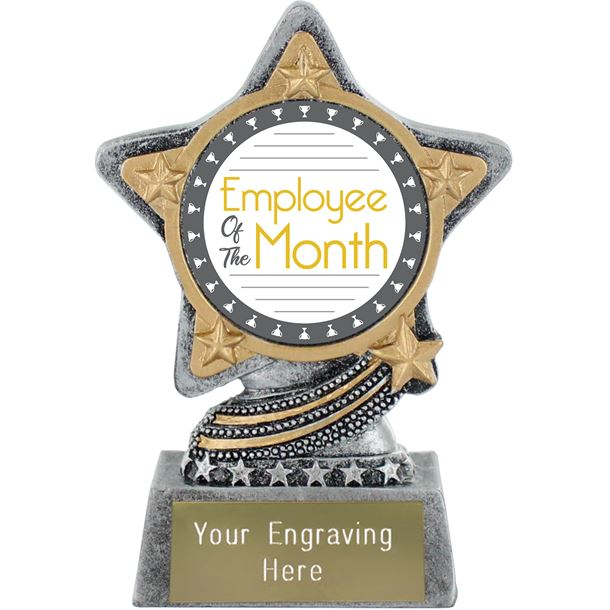 "Employee Of The Month Trophy by Infinity Stars Antique Silver 10cm (4"")"