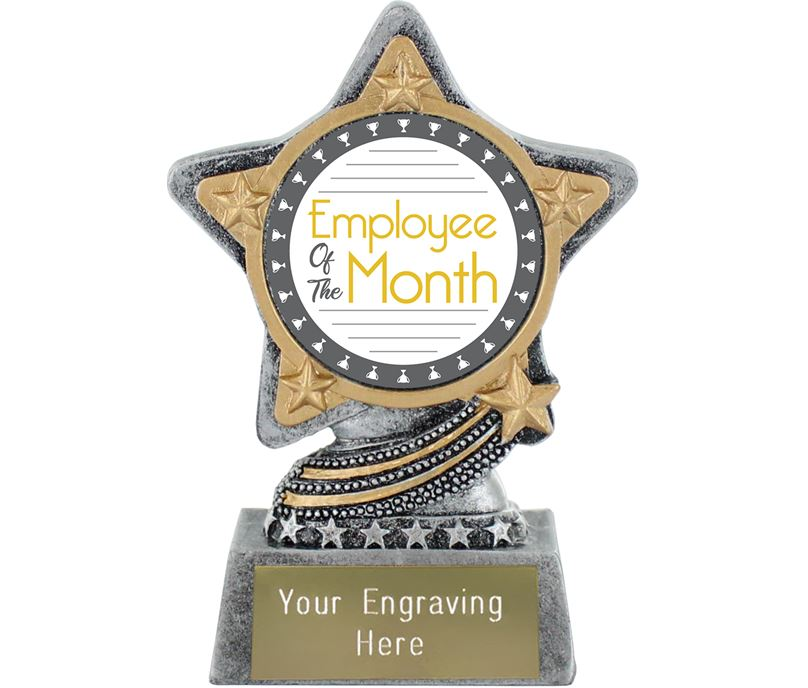 """Employee Of The Month Trophy by Infinity Stars Antique Silver 10cm (4"""")"""