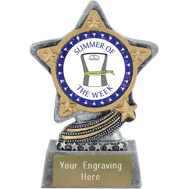 """Slimmer Of The Week Trophy by Infinity Stars Antique Silver 10cm (4"""")"""
