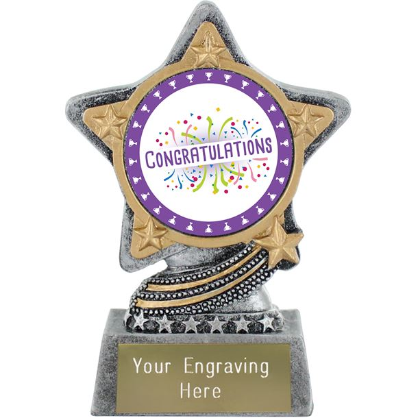 "Congratulations Trophy by Infinity Stars Antique Silver 10cm (4"")"