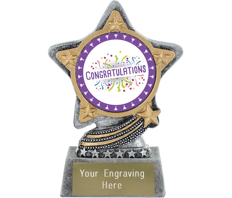 """Congratulations Trophy by Infinity Stars Antique Silver 10cm (4"""")"""