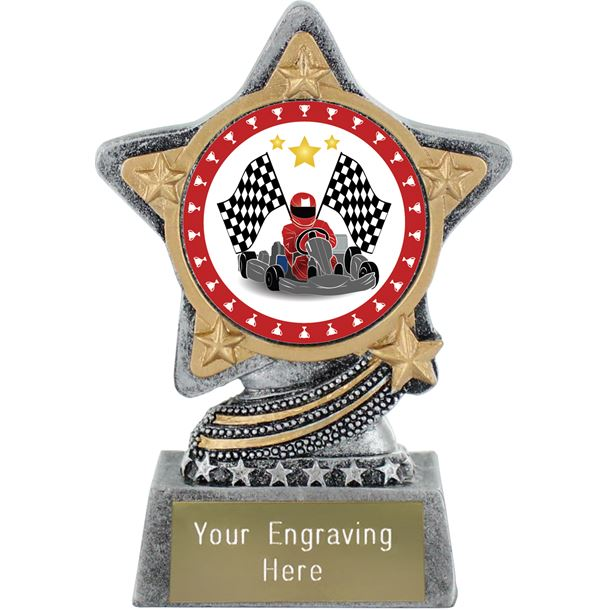 "Karting Trophy by Infinity Stars Antique Silver 10cm (4"")"