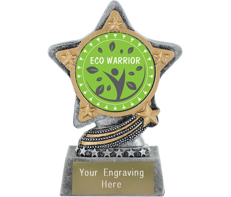 """Eco Warrior Trophy by Infinity Stars Antique Silver 10cm (4"""")"""