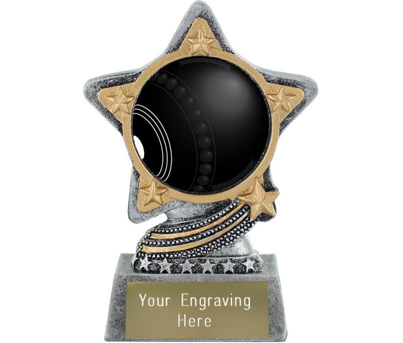 """Centre Bowls Trophy by Infinity Stars Antique Silver 10cm (4"""")"""