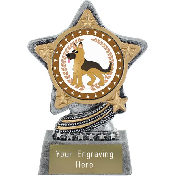 "German Shepherd Trophy by Infinity Stars Antique Silver 10cm (4"")"