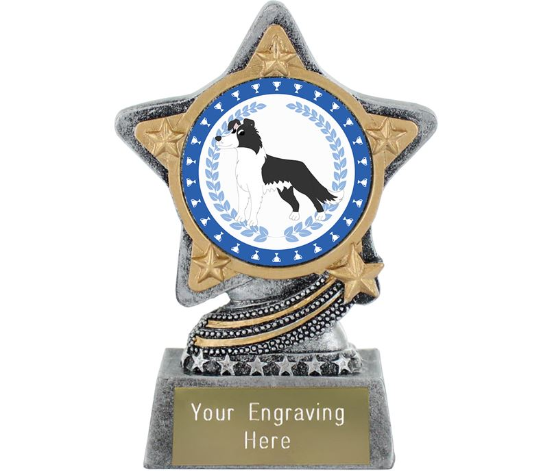 """Border Collie Dog Trophy by Infinity Stars Antique Silver 10cm (4"""")"""
