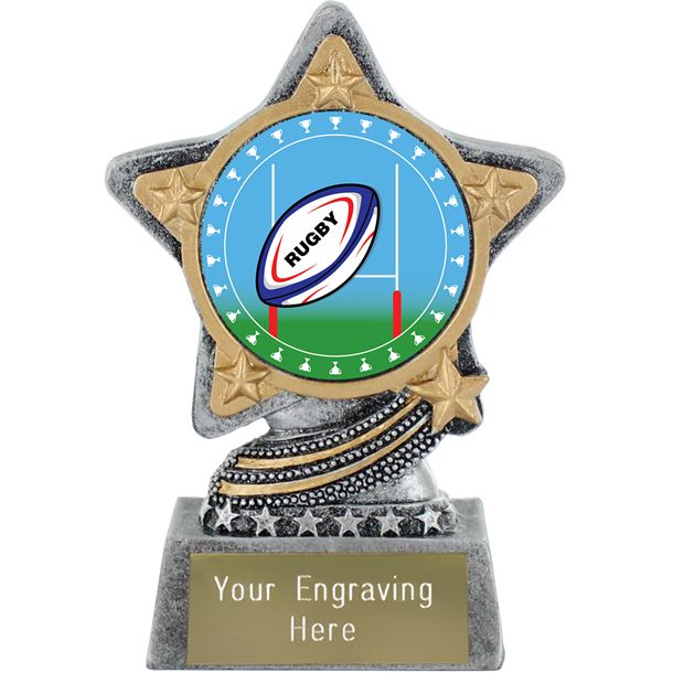 """Rugby Trophy Centre by Infinity Stars Antique Silver 10cm (4"""")"""